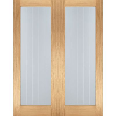 Oak Mexicano Pattern 10 Glazed Pairs Internal Door Wooden Ti...