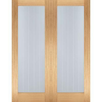 Oak Mexicano Pattern 10 Glazed Pairs Internal Door Wooden Ti...
