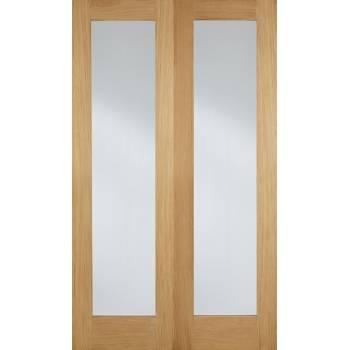 Oak Pattern 20 Glazed Internal French Door Pair Wooden Timber