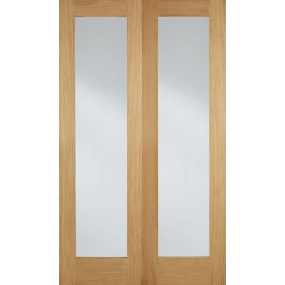 Oak Pattern 20 Glazed Internal French Door Pair Wooden Timbe...