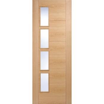 Pre-finished Oak Vancouver Offset Glazed Internal Door Wooden Timber