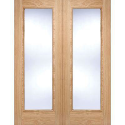 Pre-finished Oak Vancouver Pattern 10 Internal French Door P...