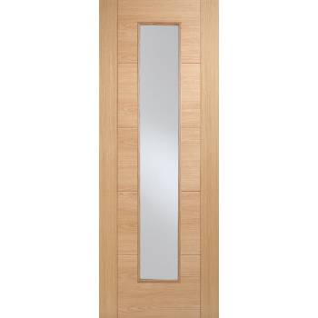 Pre-finished Oak Vancouver Long Light Glazed Internal Fire Door Wooden Timber