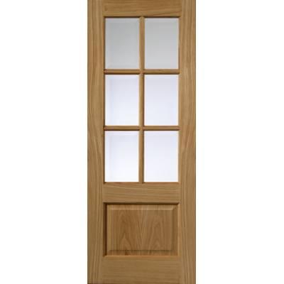 Pre Finished Classic Oak Dove Glazed Internal Door  - Door Size, HxW:
