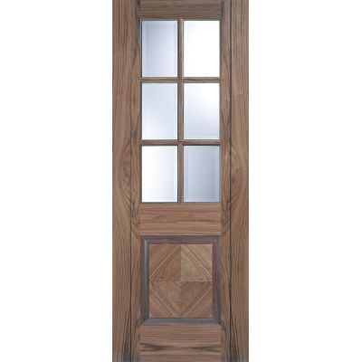 Pre-finished Walnut Barcelona Glazed Internal Door Wooden Timber - Door Size, HxW: