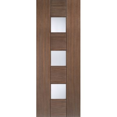 Pre-finished Walnut Catalonia Glazed Internal Door Wooden Timber - Door Size, HxW: