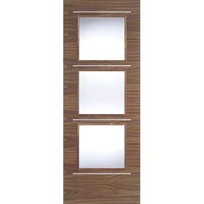 Pre-finished Walnut Murcia Glazed Internal Door Wooden Timbe...