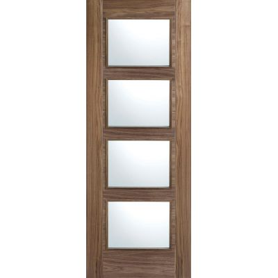 Pre-finished Walnut Vancouver Glazed Internal Door Wooden Ti...