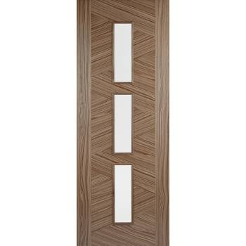 Pre-finished Walnut Zeus Glazed Internal Door Wooden Timber