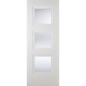 White Primed Amsterdam Glazed Internal Door Wooden Timber