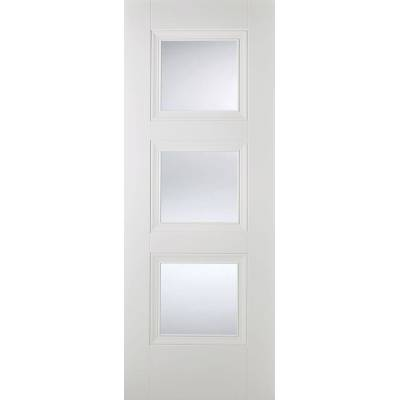 White Primed Amsterdam Glazed Internal Door Wooden Timber - ...