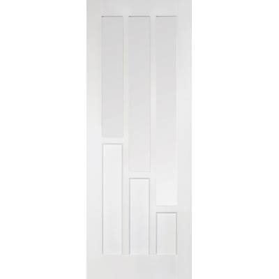 White Primed Coventry Glazed Internal Door Wooden Timber - D...