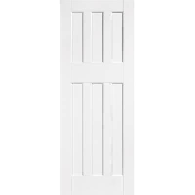 White Primed DX 60's Style Internal Door Wooden Timber - Doo...