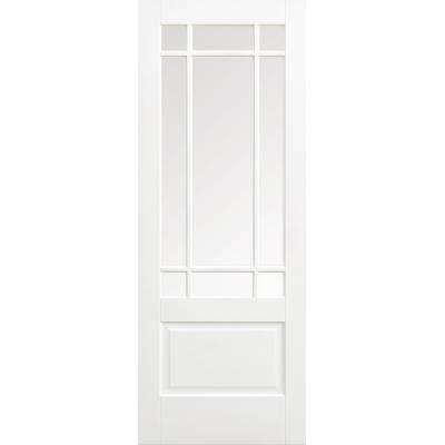 White Primed Downham Glazed Internal Door Wooden Timber - Do...