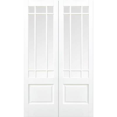 White Primed Downham Glazed Internal French Door Pair Wooden...