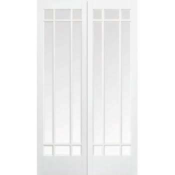 White Primed Manhattan Glazed Internal French Door Pair Wooden Timber
