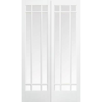 White Primed Manhattan Glazed Internal French Door Pair Wood...