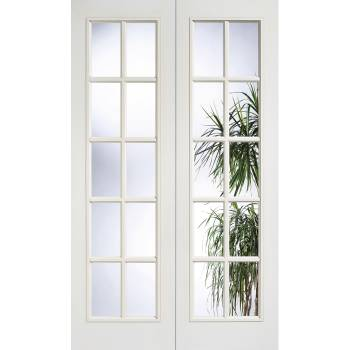 White Textured SA Glazed Internal French Door Pair Wooden Timber