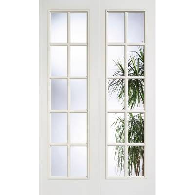 White Textured SA Glazed Internal French Door Pair Wooden Ti...