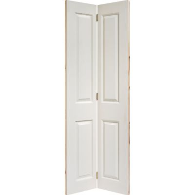 White Textured 4 Panel Bi-Fold Internal Door Wooden Timber -...