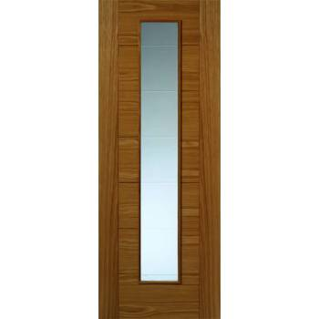 Pre Finished Contemporary Oak Royale VP7 Glazed Internal Door