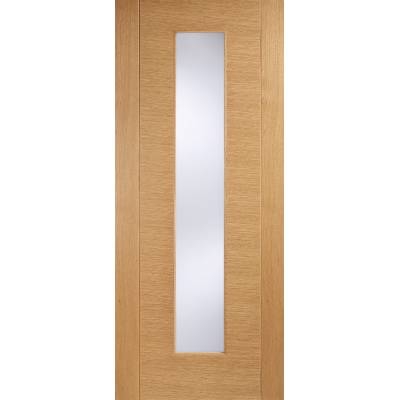 Pre-finished Oak Aragon Glazed Internal Door Wooden Timber - Door Size, HxW: