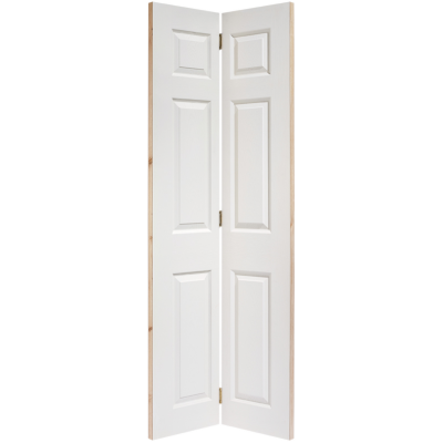 White Textured 6 Panel Bi-Fold Internal Door Wooden Timber -...