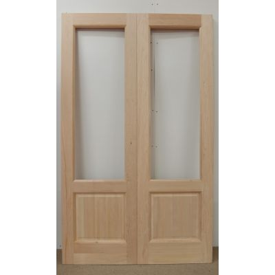 French Door Pair External Timber Wooden Hemlock 2XG LP Rebated Unglazed - Door Size, HxW: