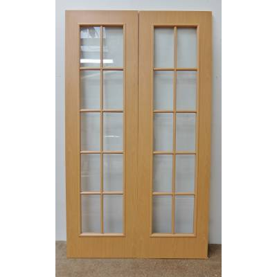 Beech Foil Faced Internal 10 Light French Door Pair 78x46&qu...