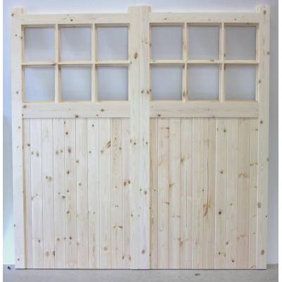 Wooden Timber Garage Doors Apertured Side Hung Pair Glazing ...