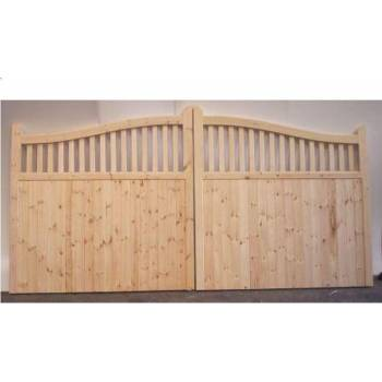 "Bespoke Softwood Arched Spindle Gates 84""x144"" Wooden Timber Driveway"