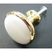 Cupboard Knob Handle Brass Porcelain Drawer or Door 28mm