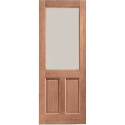 Hardwood 2XG External Door Wooden Timber Clear Single Glazed  - Door Size, HxW:
