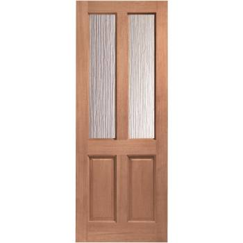 Hardwood Malton External Door Wooden Obscure Single Glazed
