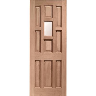 Hardwood York External Timber Door Obscure Single Glazed Wood  - Door Size, HxW: