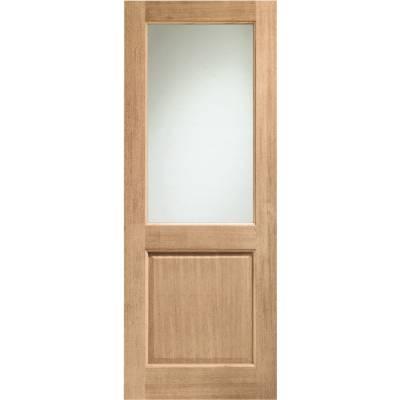 Oak 2XG External Door Wooden Timber Double Glazed Clear Glass  - Door Size, HxW: