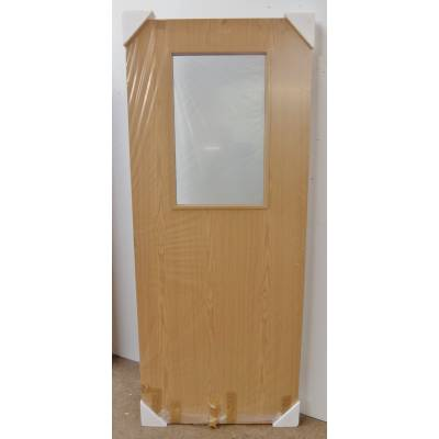"78x30"" Showpiece Oak Flush Fire Door FD30 GO3 Clear Pyroguard Glass Chipped"