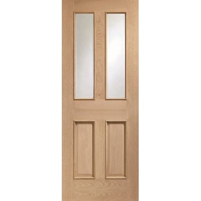 Oak Malton Raised Moulds Clear Glass Internal Door Wooden Ti...