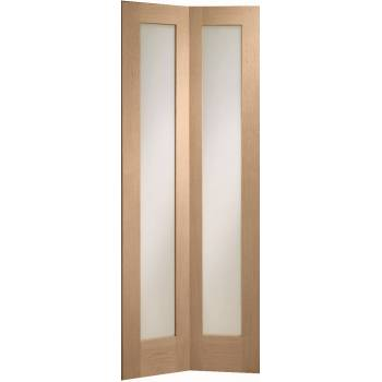 Oak Pattern 10 Clear Glazed Internal Bi-fold Door Wooden Timber Interior