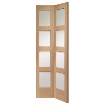 Oak Shaker Clear Glazed Internal Bi-fold Bifold Door Wooden Timber Interior