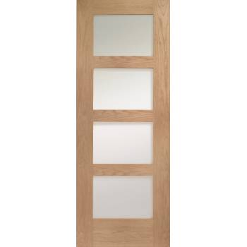 Oak Shaker Clear Glazed Internal Fire Door Wooden Timber Interior