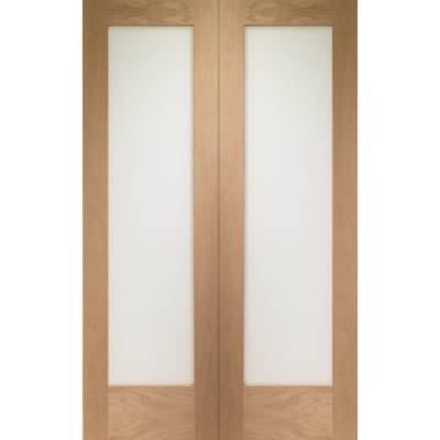 Oak Pattern 10 Internal French Door Pair Obscure Glass - Doo...
