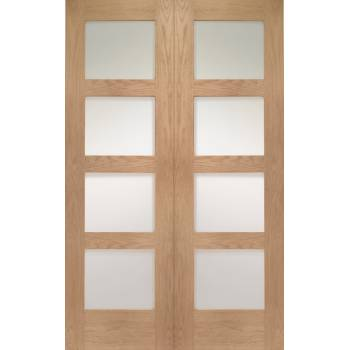 Oak Shaker Internal French Door Pair Clear Glass