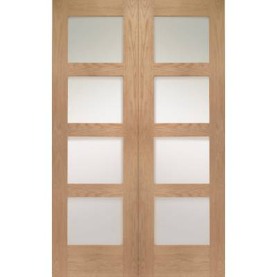 Oak Shaker Internal French Door Pair Clear Glass - Size, HxW...