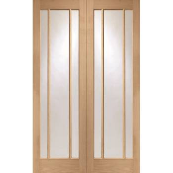 Oak Worcester Internal French Door Pair Clear Glass