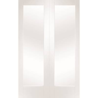 White Primed Pattern 10 Internal French Door Pair Clear Glas...