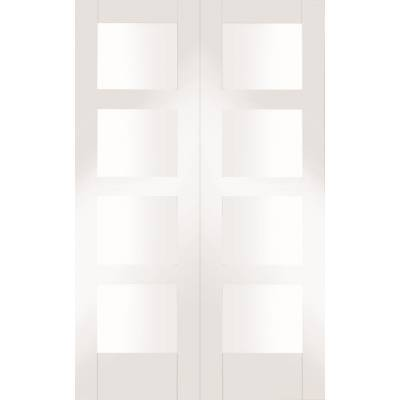 White Primed Shaker Internal French Door Pair Clear Glass - ...