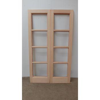 French Door Pair External Timber Wooden Hemlock Patt 70 Rebated Unglazed