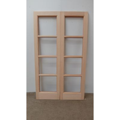 French Door Pair External Timber Wooden Hemlock Patt 70 Rebated Unglazed - Door Size, HxW: