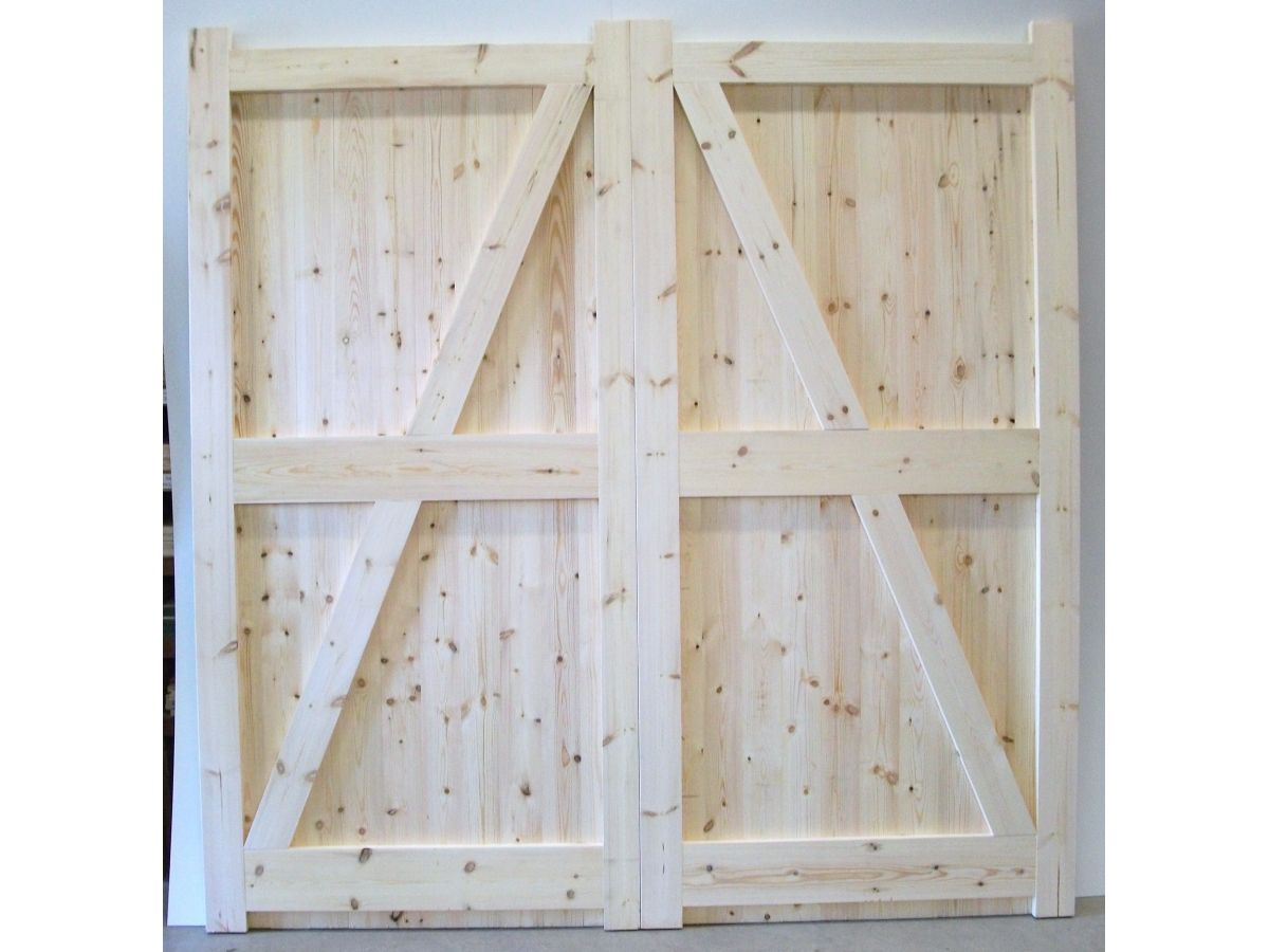 Wooden Timber Garage Doors Solid Boarded Side Hung Pair Frame Ledged Braced  FLB